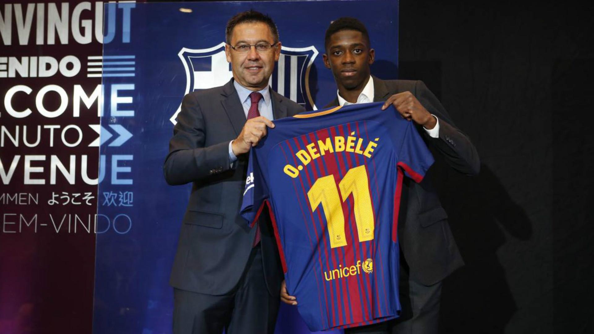 timeless design 5e971 bff7a New Barcelona signing Dembele denies feeling pressure of ...
