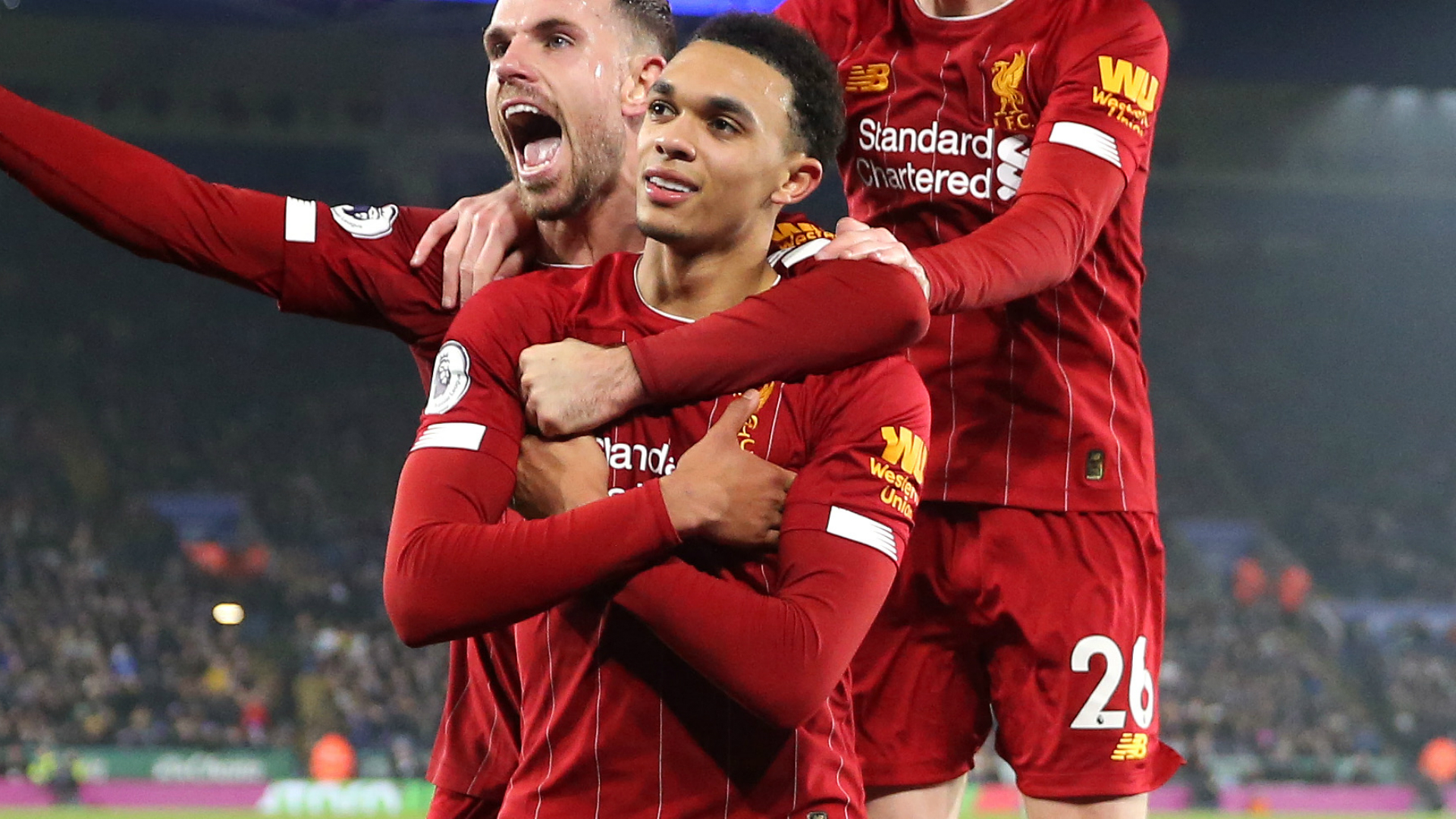 Alexander-Arnold imitates Mbappe's goal celebration as Liverpool rout Leicester