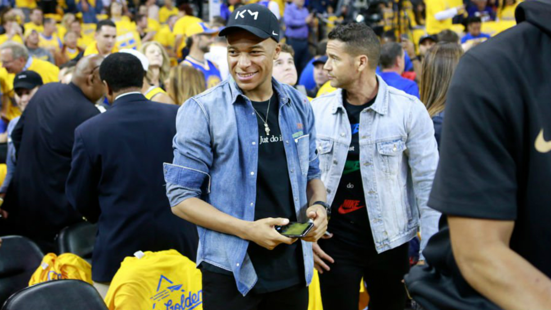 PSG star Mbappe watches Warriors v Raptors in NBA Finals