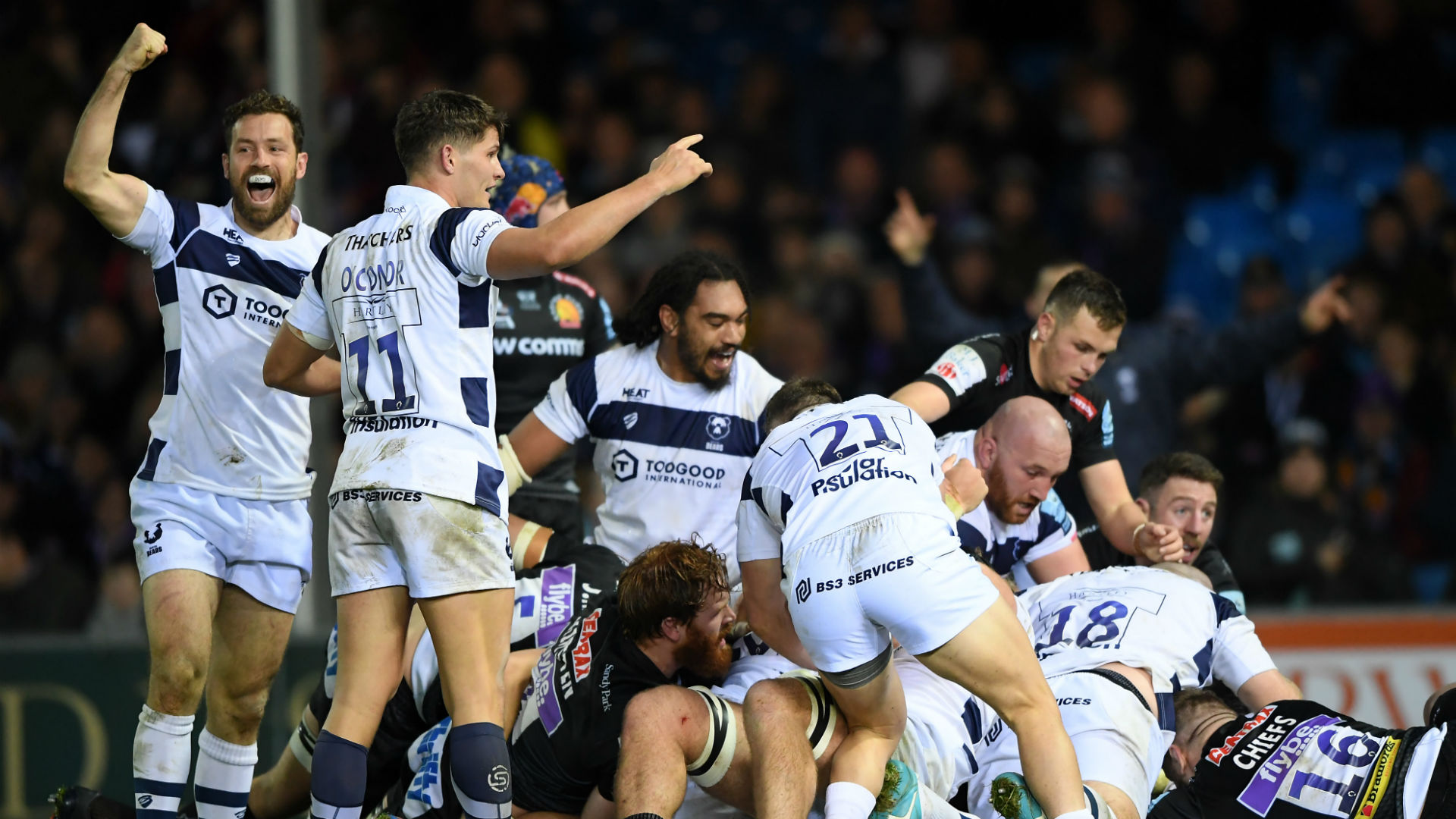 Bristol storm back to beat Chiefs and go top, Exiles hammer Leicester