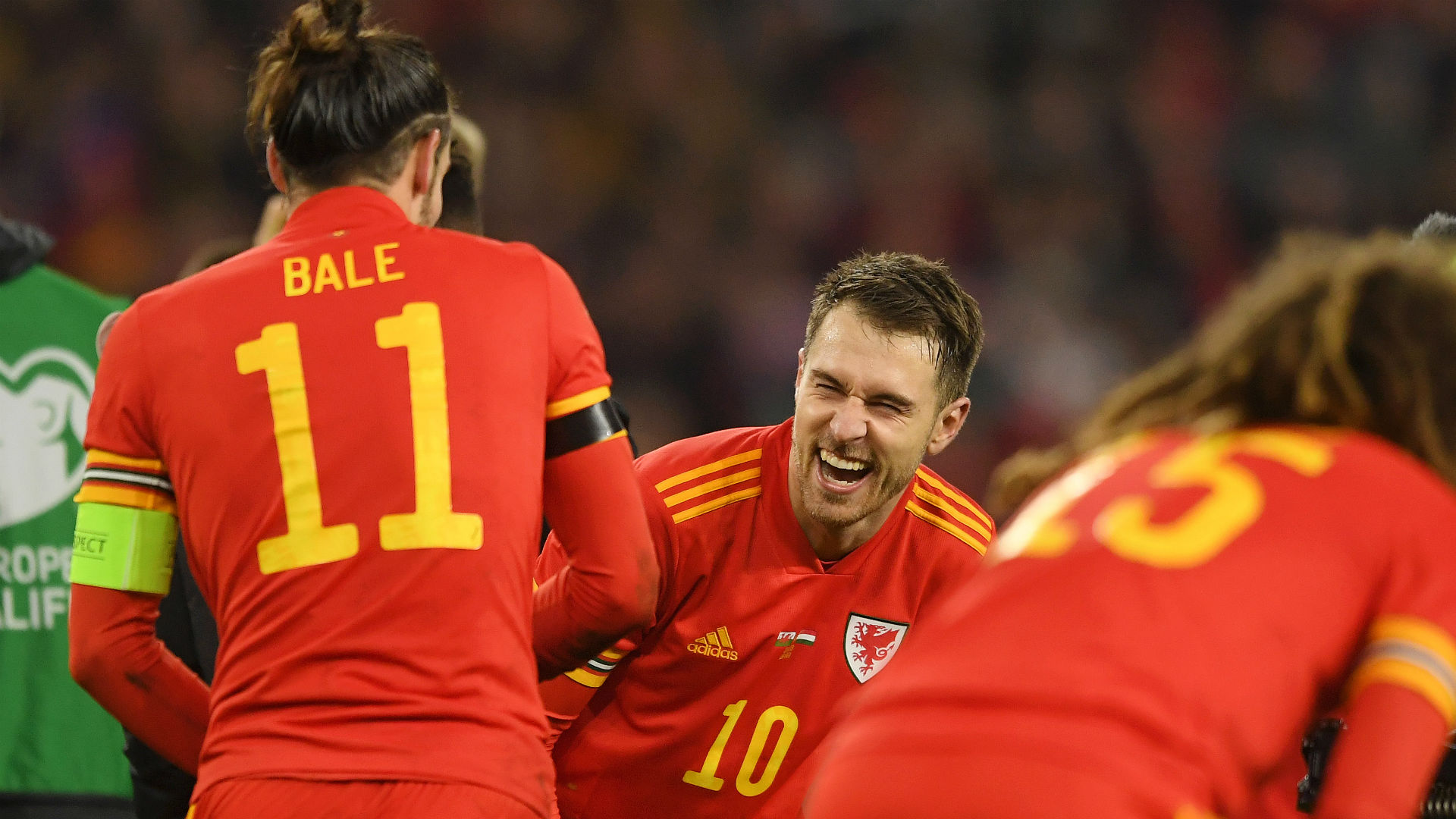 About time Ramsey contributed! Delighted Bale jokes with returning Wales hero