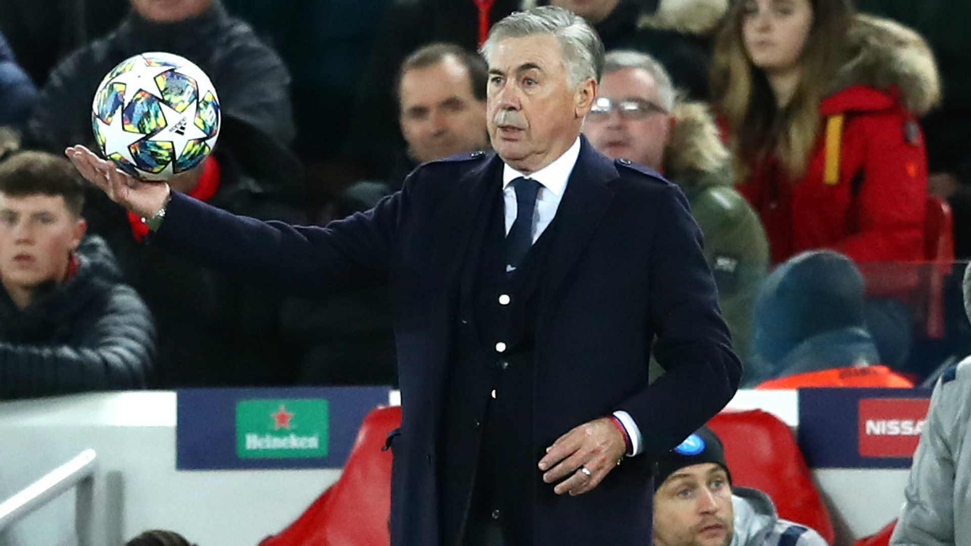 Ancelotti: Napoli owner really pleased as Italians hold Liverpool at Anfield