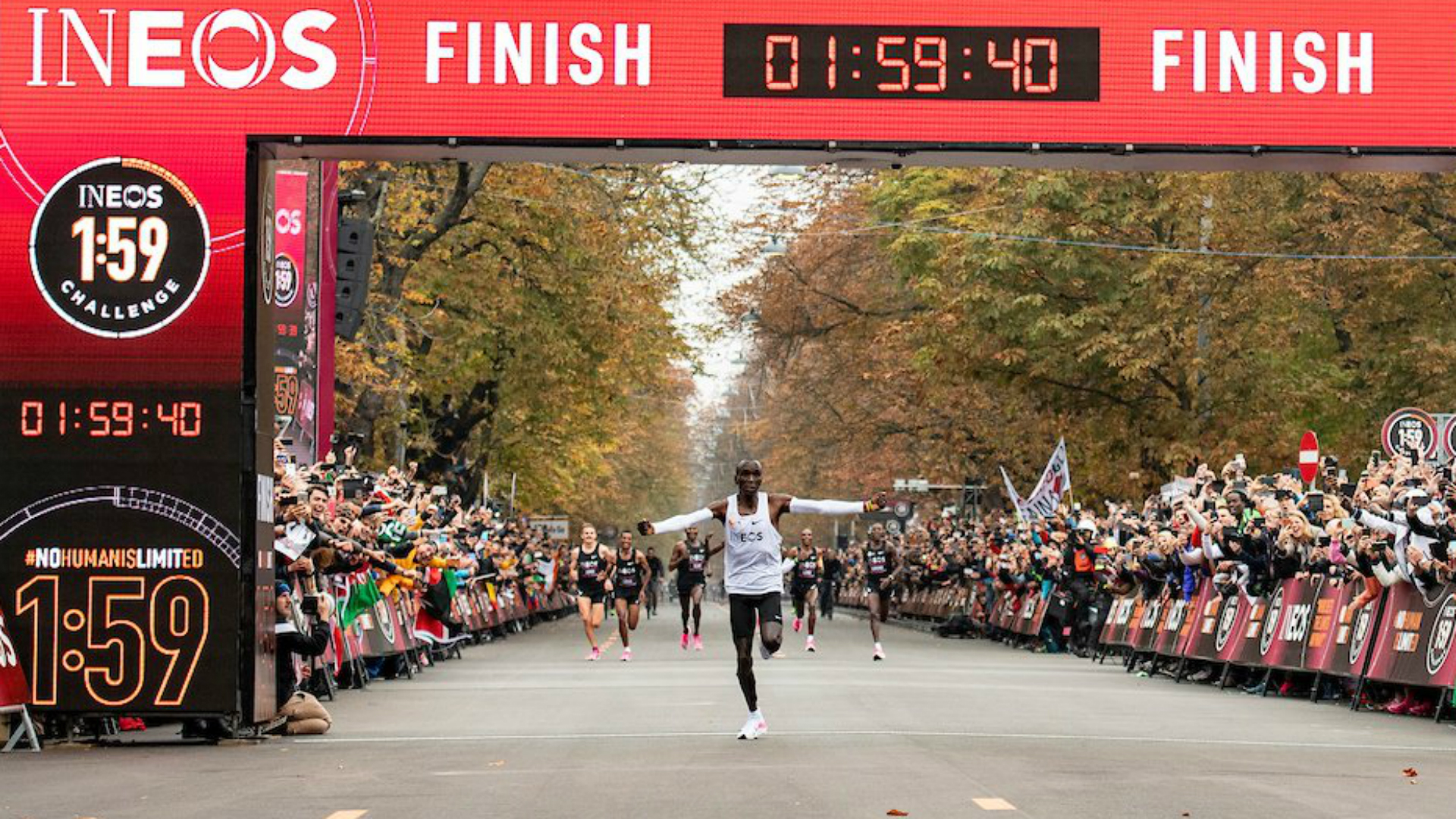 Eliud Kipchoge makes history by running marathon in under two hours