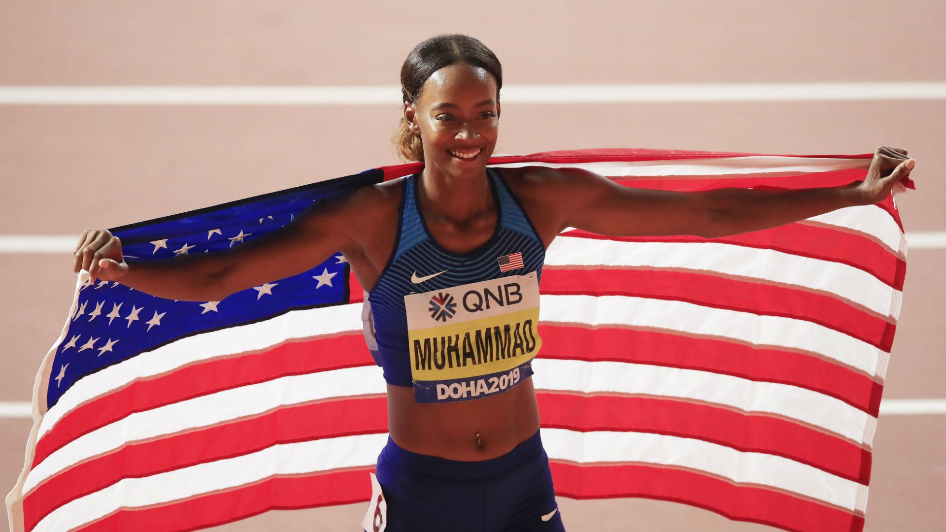 World Athletics Championships: USA star Muhammad breaks world record again