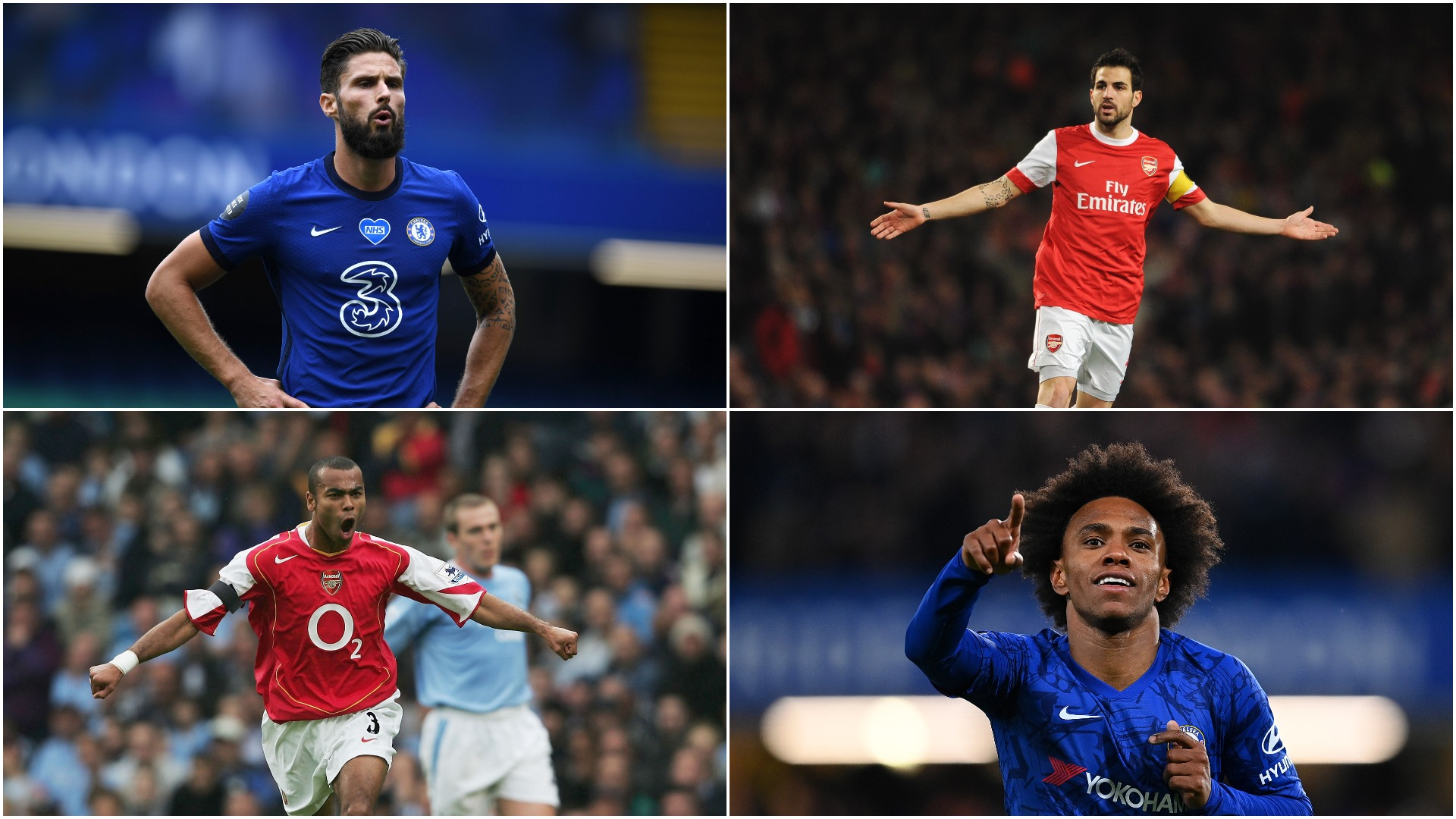 Willian to Arsenal: Cole, Fabregas, Giroud and the players to feature for the Gunners and Chelsea