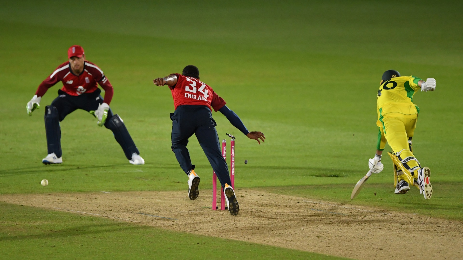 Australia collapse gives England tense opening T20 win