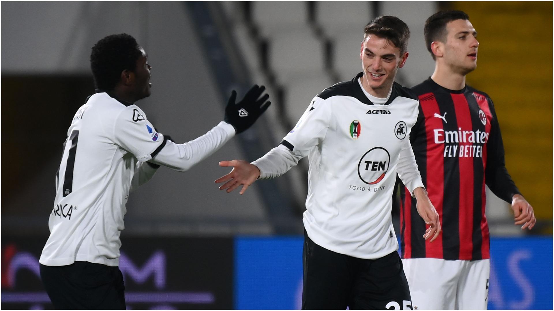 Spezia 2-0 Milan: Maggiore and Bastoni stun Serie A leaders
