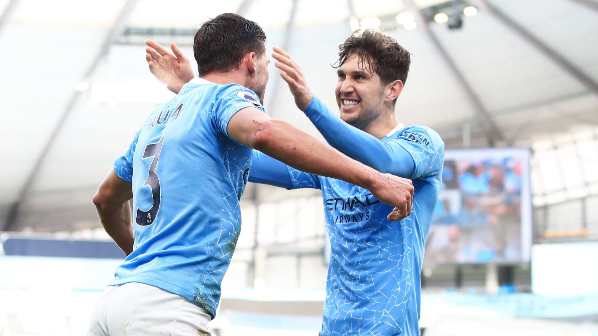 Manchester City 2-1 West Ham: Stones and Dias put leaders 13 points clear