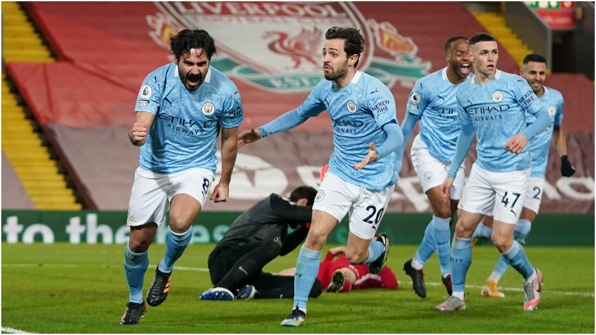 Liverpool 1-4 Manchester City: Guardiola finally gets Anfield win as champions collapse