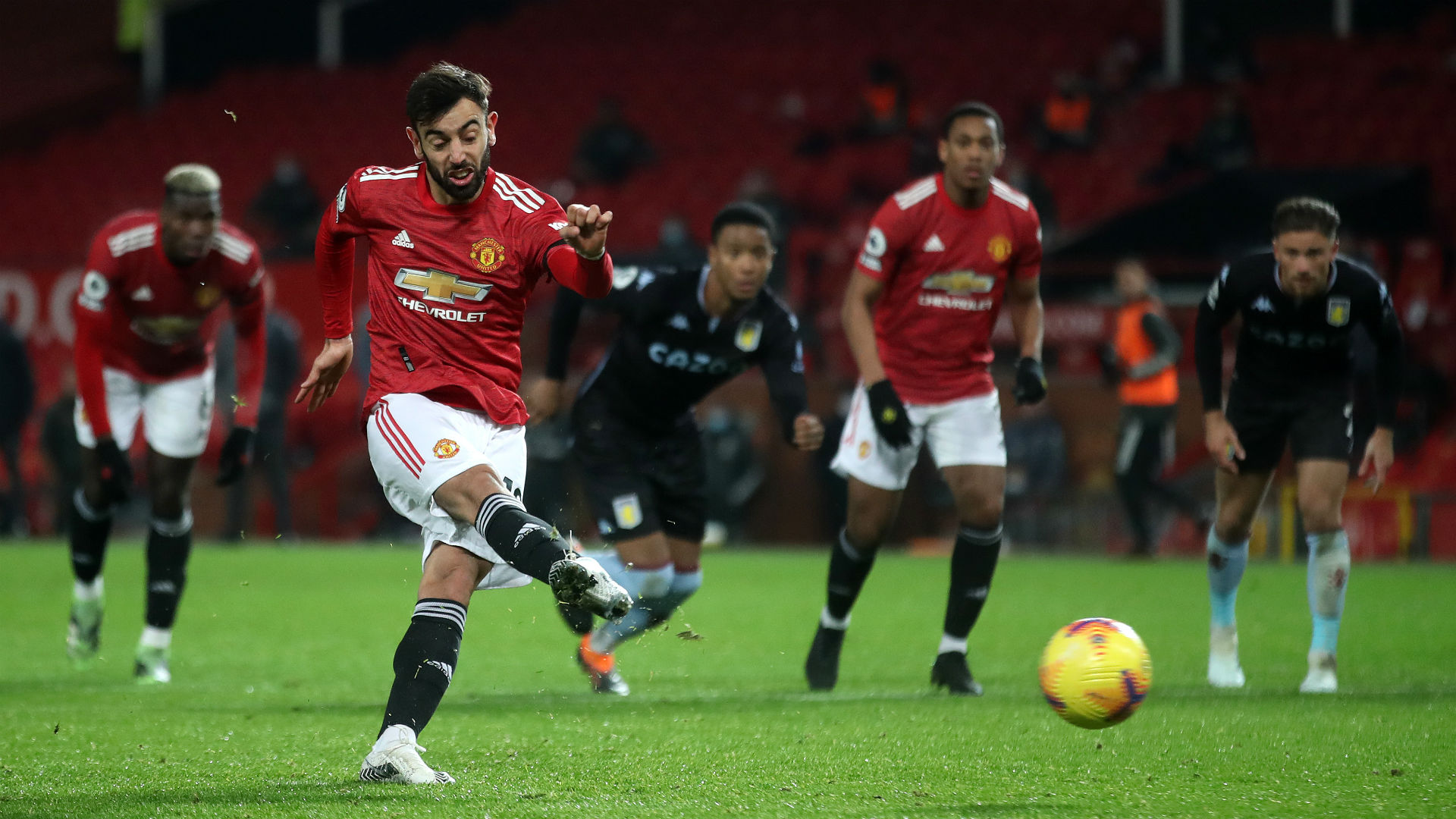 Manchester United 2-1 Aston Villa: Fernandes sends Red Devils level with leaders Liverpool
