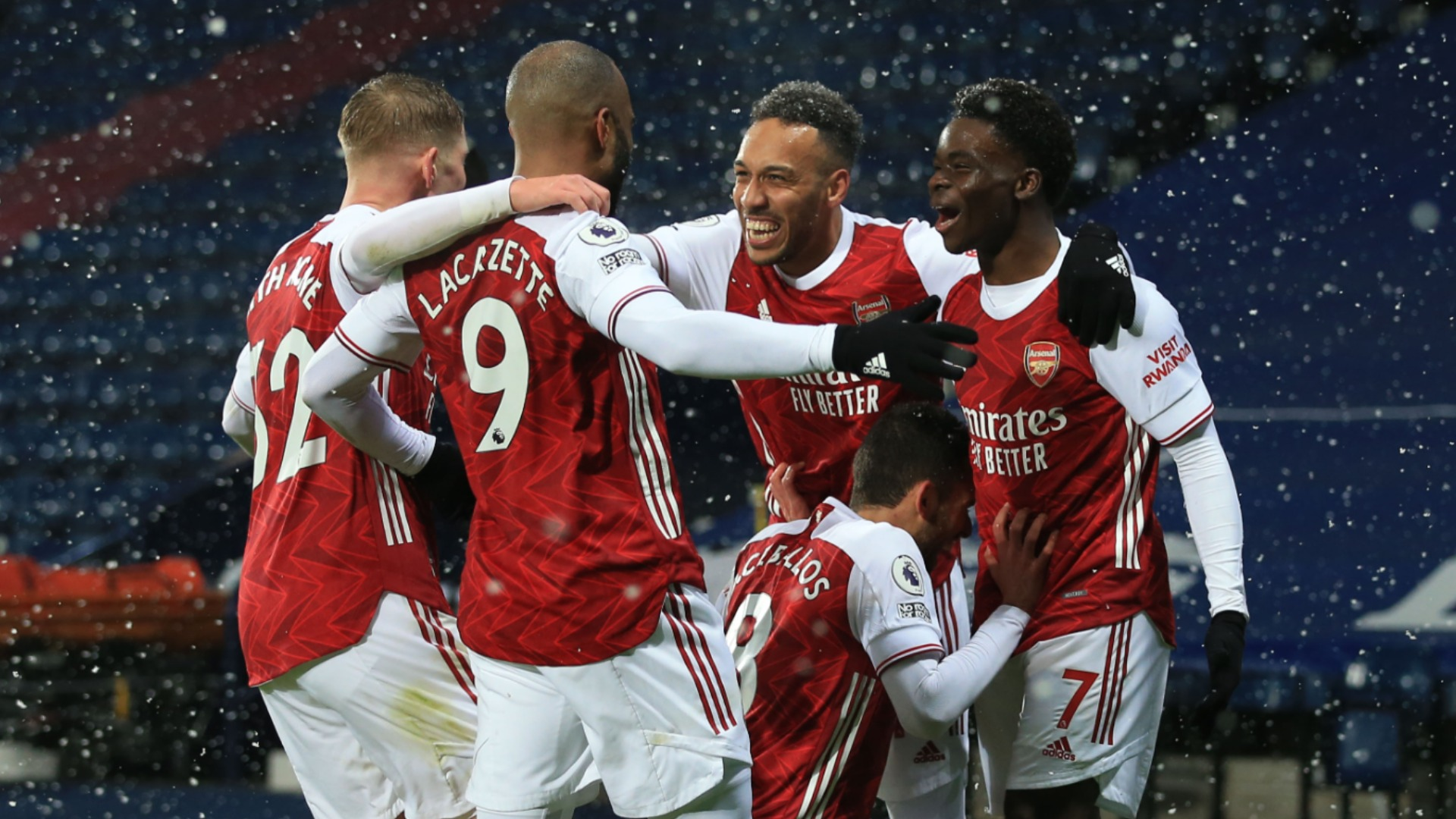 West Brom 0-4 Arsenal: Revived Gunners make it three in a row in the snow